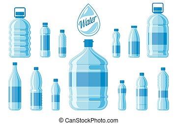 jogo, garrafas, saudável, isolado, agua, plástico, água,...