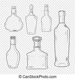 jogo, garrafas, transparente, fundo