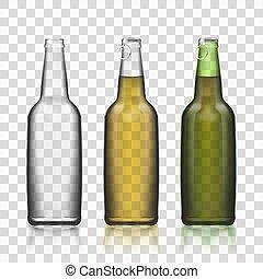 jogo, garrafas, vidro, isolado, realístico, fundo, transparente, 3d