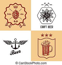 jogo, garrafas, vindima, etiqueta, cerveja, arte, sinal, cervejaria