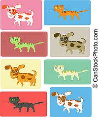jogo, gatos, cachorros
