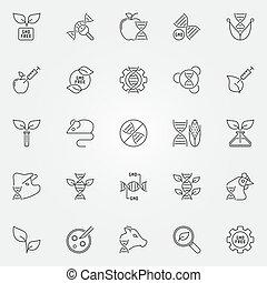 jogo, gmo, esboço, ícones, -, genético, símbolos, engenharia, vetorial
