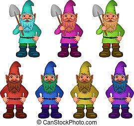 jogo, gnomes, jardim, caricatura