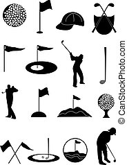jogo, golfe, ícones