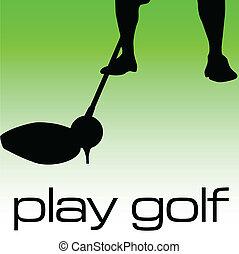 jogo, golfe, ilustração