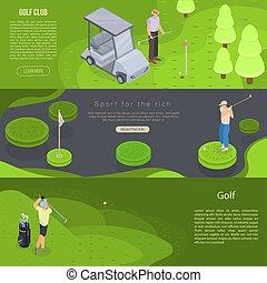 jogo, golfe, isometric, bandeira, estilo