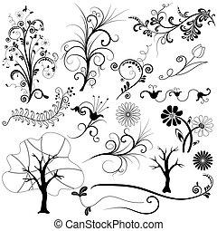 jogo, gráfico, floral, elemento