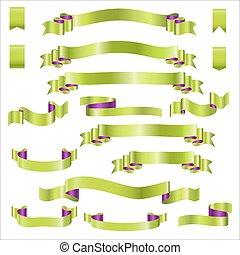 jogo, gradiente, ilustração, vetorial, verde, fitas