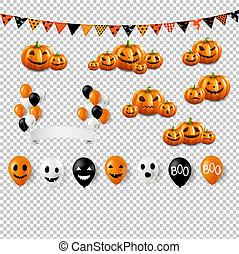 jogo, grande, dia das bruxas, fundo, balões, transparente