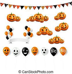 jogo, grande, dia das bruxas, fundo, branca, balões
