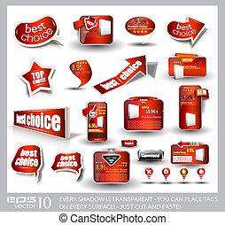 jogo, grande, etiquetas, venda, anúncio, vermelho