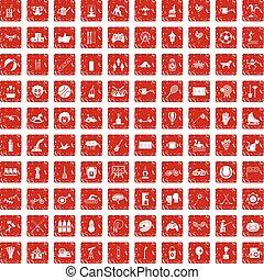 jogo, grunge, ícones, crianças, atividade, 100, vermelho