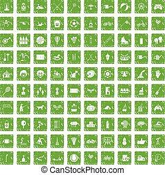 jogo, grunge, ícones, crianças, verde, atividade, 100