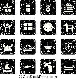 jogo, grunge, ícones, viagem, suécia, vetorial