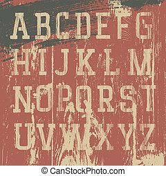jogo, grunge, alfabeto, vindima, vetorial, ocidental