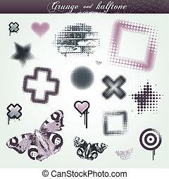 jogo, grunge, halftone, elementos, vário, desenho