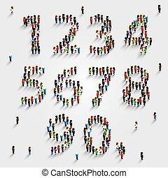 jogo, grupo, pessoas, número, form., grande