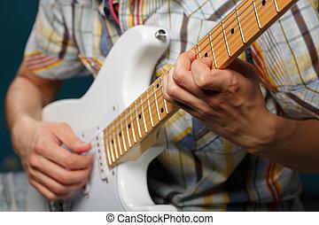jogo, guitarra, foco, seletivo, parte, cadeias