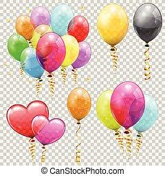 jogo, hélio, balões