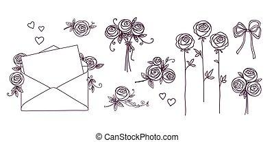 jogo, heart., elements., concept., valentines, aniversário, rosas, flowers., grinaldas, desenho, flor, ramo, casório, floral, dia