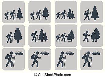 jogo, hiking, ícone