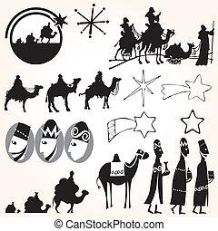 jogo, homens sábios, três, vetorial, natal