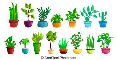 jogo, houseplants, estilo, caricatura, ícones