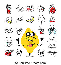 jogo, humor, desenho, expressões faciais, caricatura
