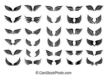 jogo, icons., esboço, pretas, wings., ilustração, vetorial