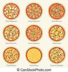 jogo, icons., pizza