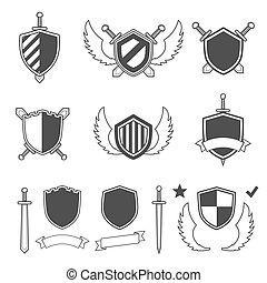 jogo, icons., vetorial, pretas, ilustração, segurança