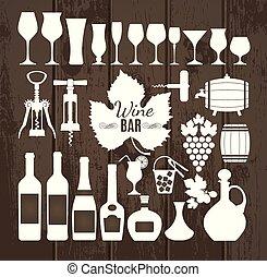 jogo, icons., vinho