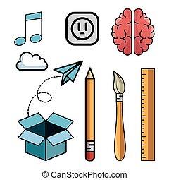 jogo, idéias, elementos, criativo