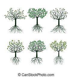 jogo, illustration., árvores, vetorial, verde, folheia, roots.