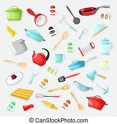 jogo, illustration., caricatura, utensílios, vetorial, adesivos, style.
