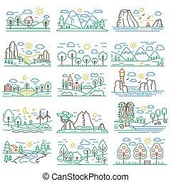 jogo, illustration., cor natureza, campos, river., vetorial, floresta, linha, paisagens, montanhas