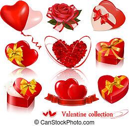 jogo, illustration., elements., valentine, vetorial, dia