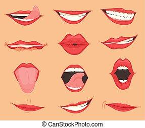 jogo, illustration., emoções, expressions., lábios, vetorial, vário, femininas, boca