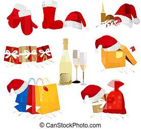 jogo, illustration., grande, chapéus, vetorial, santa, clothing., vermelho
