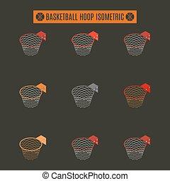 jogo, illustration., isometric, anéis, vetorial, cesta, basquetebol