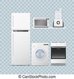 jogo, illustration., lar, kitchen., realístico, vetorial, eletrodomésticos, transparente, fundo