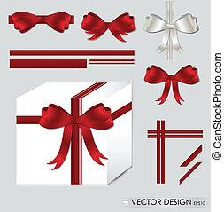 jogo, illustration., presente, grande, arcos, vetorial, ribbons., vermelho