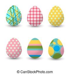 jogo, illustration., realístico, collection., ovos, experiência., vetorial, branca, páscoa