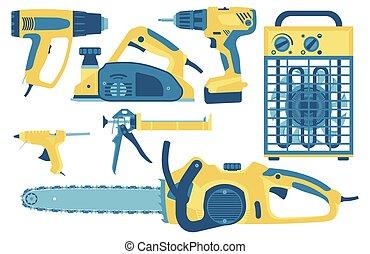 jogo, illustration., style., construção, apartamento, ferramentas, reparar, vetorial