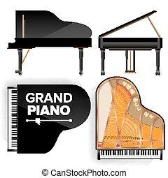 jogo, illustration., topo, isolado, costas, realístico, vetorial, pretas, shadow., grandioso, keyboard., ícone, piano, vista