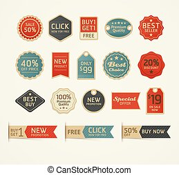 jogo, illustration., vindima, etiquetas, vetorial, retro, emblemas, design.