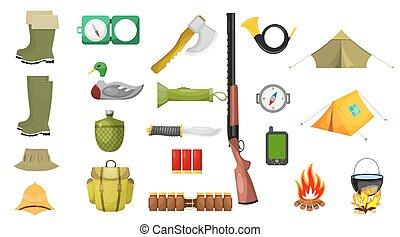 jogo, Ilustração, caça, isolado, ícones, fundo, tema, vetorial, branca