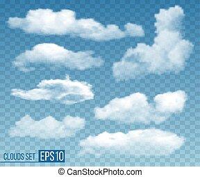 jogo, ilustração, clouds., realístico, vetorial, transparente