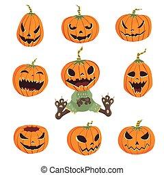 jogo, ilustração, dia das bruxas, isolado, experiência., vetorial, pumpkins., branca