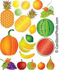 jogo, ilustração, frutas